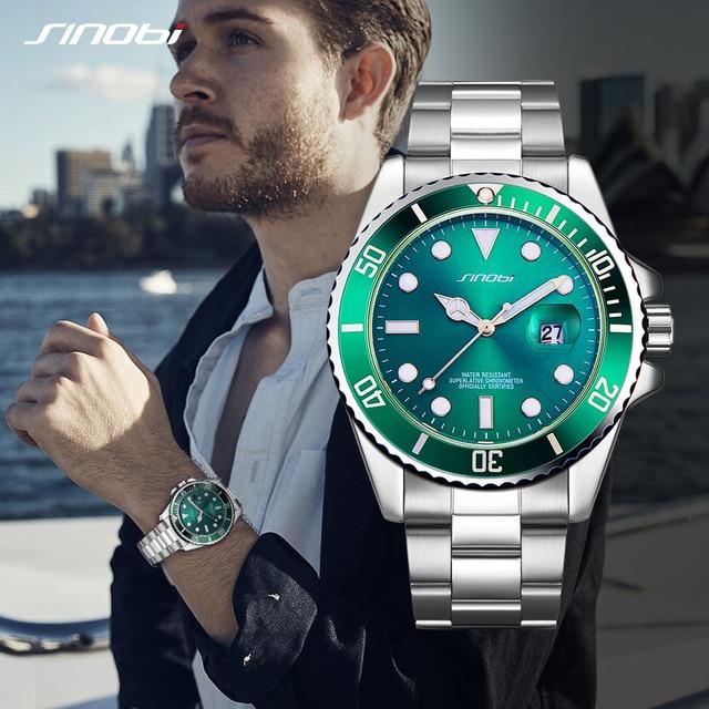SINOBI Classic Golden Men Watches 2019 Luxury Stainless Steel Band Business Casual Waterproof Quartz Wristwatch Reloj Hombre Hot