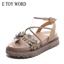 E TOY WORD 2019 Retro Sandals Summer New Women thick soled Female Comfortable Cross-tied Flower Womens
