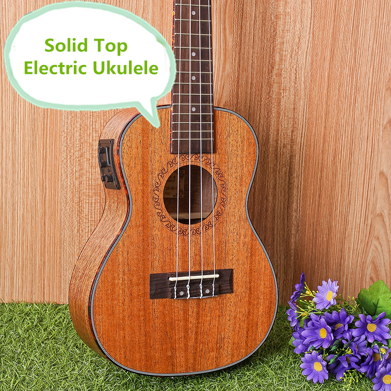 Solid Top Concert Acoustic Electric Ukulele 23 Inch Guitar 4 Strings Ukelele Guitarra Handcraft Wood Diduo Mahogany Plug-in Uke