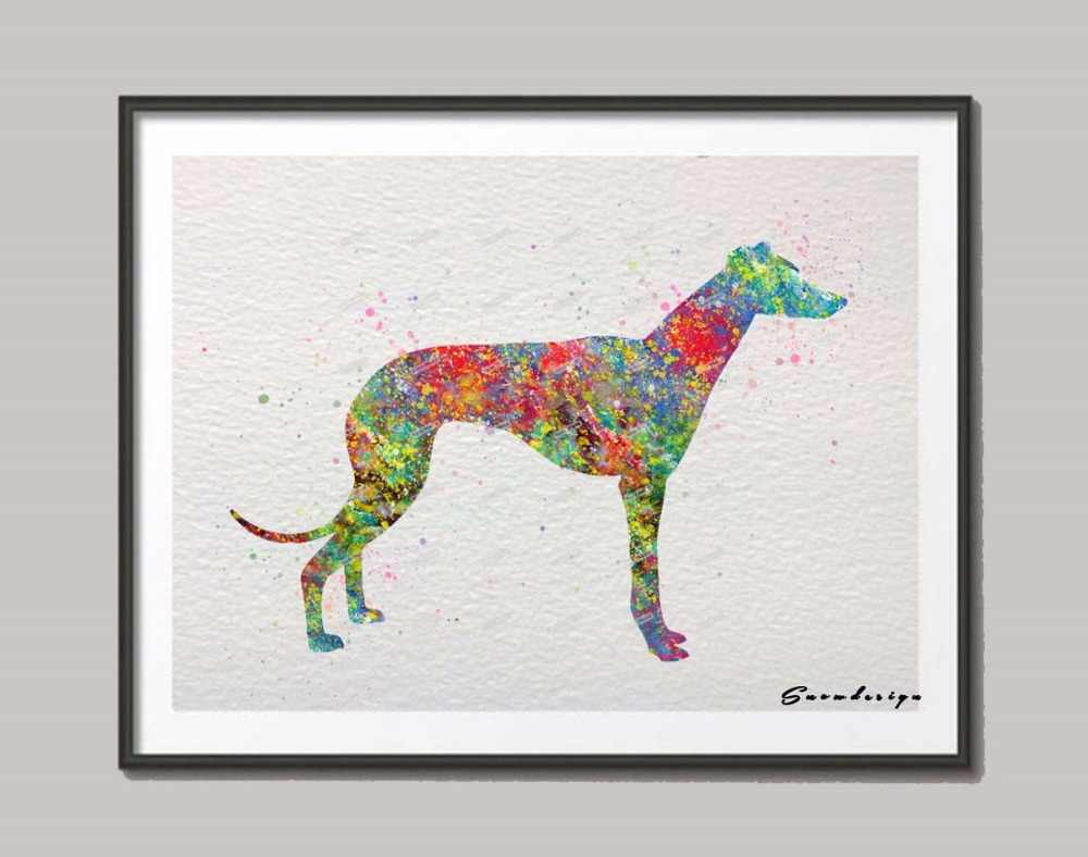 Original Greyhound watercolor canvas painting Dog wall art poster print Pictures living room Home Decoration wall hanging gifts