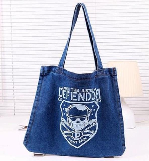 Women Reuseable Shopping Bags Female Denim Children Big Book Pouches Ladies Travel Cowboy Fabric Bolsa Bolso