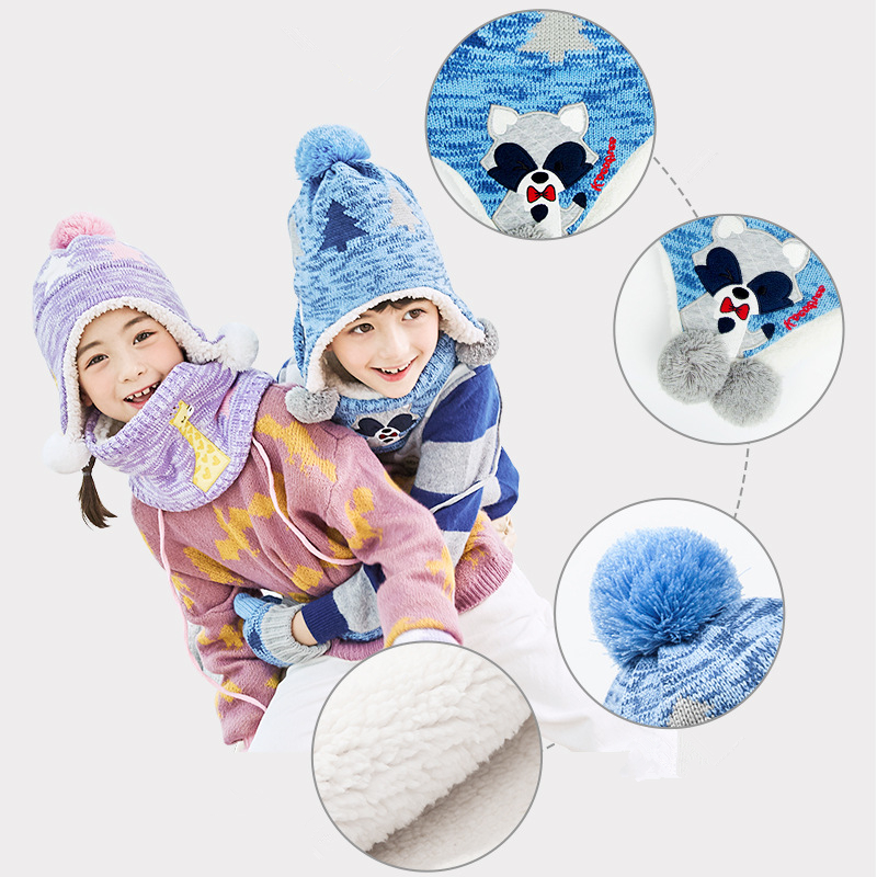 Kocotree Autumn Winter Children's Caps Kids Warm Knitted Hat with Scarves Mittens Hot Sell for 1-10 Years Old Boys Girls Hat Set