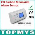 O Envio gratuito de 1 pc/lote Mais Novo CO Detector com Display LCD de Voz alerta CO Monóxido De Carbono Sensor de Alarme de Segurança Em Casa