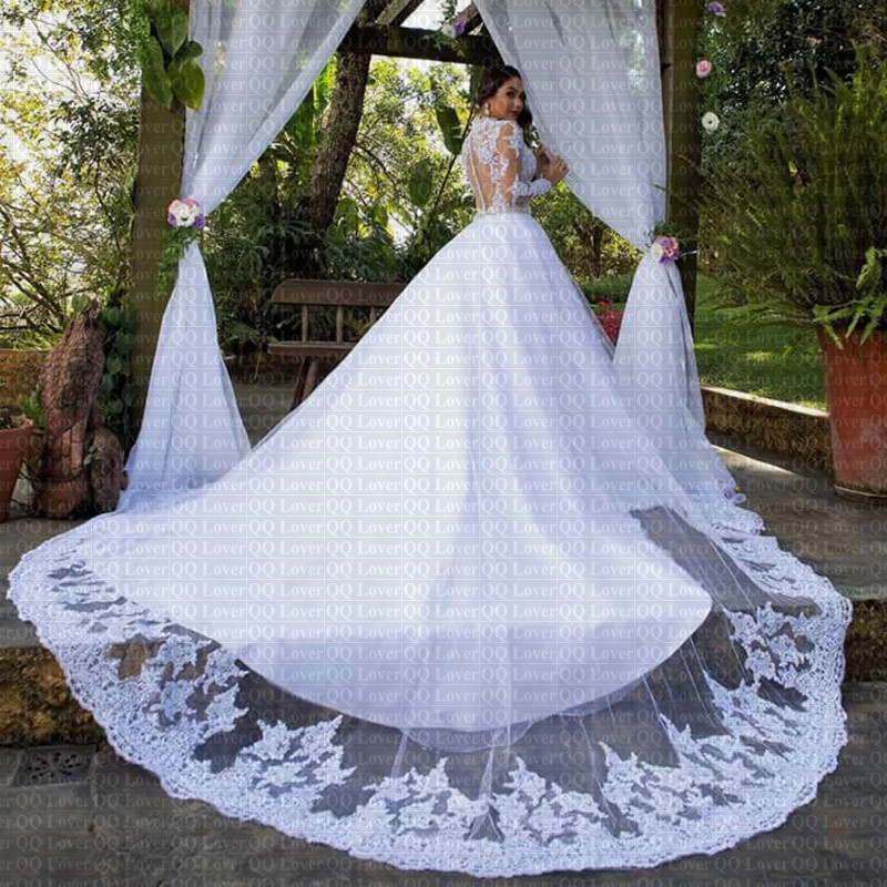 2019 New Sexy Illusion Vestido De Noiva Long Sleeves Lace Wedding Dress Applique Plus Size Wedding Bridal Gowns