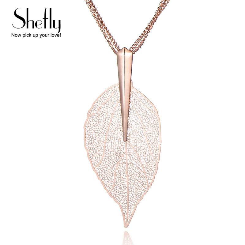 2017 Fashion New Rose Gold Color Leaf Necklace&Pendant Sweater Chain Big Leaves Necklace Jewelry XL06521