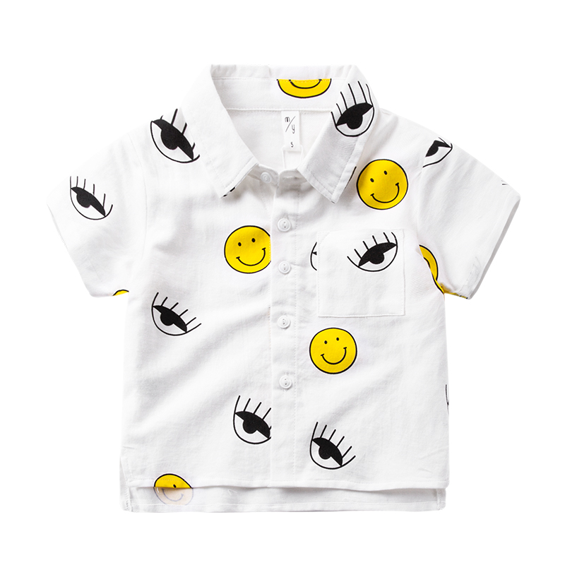 Children's white shirt male short sleeved cotton baby Lapel shirt new child summer coat boy cartoon models