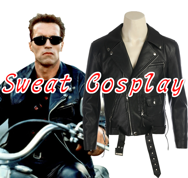 57ef8773c US $78.0 |High Quality Terminator 2: Judgment Day Arnold Schwarzenegger  Costume black jacket Halloween Cosplay Costume-in Movie & TV costumes from  ...