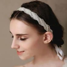 Pearls Ribbon Hairwear Women Rhinestone Trendy Tiaras Hairbands Wedding Fashion Jewelry Bride Fine Hair Accessories