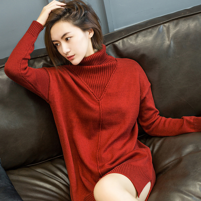 Autumn Casual Cashmere Sweater Women Long Turtleneck Wool Knitted Sweaters Pullovers 2017 Loose Knitwear Winter Elegant Jumpers autumn winter female long wool knitted dresses turtleneck slim lady accept waist package hip pullovers sweater dress for women