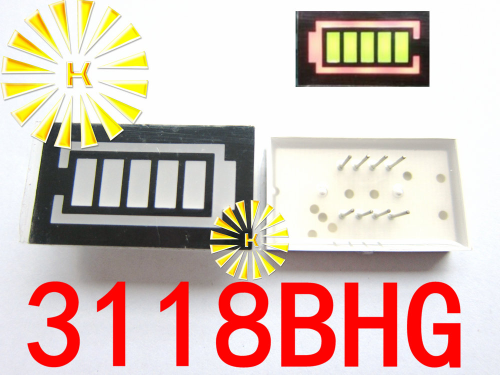 5PCS X 5 Segment Battery Style LED Digital Tube Display Yellow Green LED Inner + Red LED Outer 3118BHG