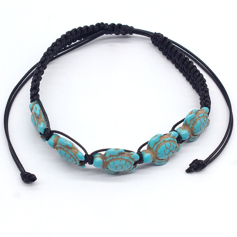 New Accessories Hand-woven Korean Wax Pine Stone Footchain Five Tortoise Creative Anklets for Women