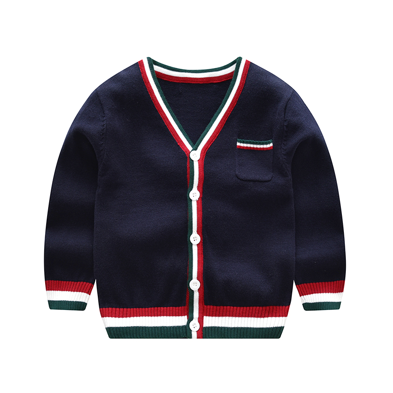 цена Vinnytido V-Neck Children Knitting Cardigan Boys Sweaters Single Breasted Striped Sweater For Boy