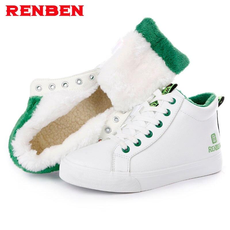2018 Women Boots Warm Short Plush Snow Ankle Boots Women Winter Shoes Black white Women Shoes Winter Boots