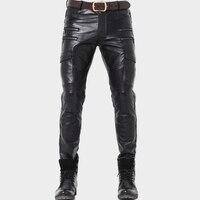 2019 Натуральная кожаные штаны Для мужчин профессии мотоциклетные байкерские Брюки Высокое качество Мужчины Мягкие кожаные черные брюки защ