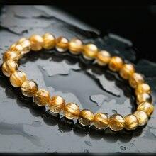 7mm or naturel rutilé titane Quartz cristal femme homme riche pierre ronde perles Bracelet du brésil bijoux AAAAA