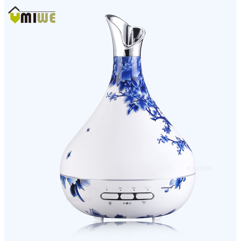 New Style Vase 300ml Aroma Essential Oil Diffuser Ultrasonic Air Humidifier purifier with Wood Grain LED Lights for Office Desk m style ваза настольная vase