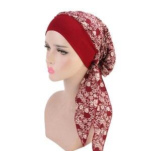 Image 4 - Muslim Women Beanie Turban Hat Head Scarf Stretchy Wrap Bandana Hijab Cap Hair Loss Flower Print Cancer Chemo Cap Arab Indian