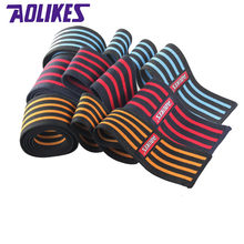 6ae01bccab AOLIKES 1Pair Power Lifting Knee Wraps Squats Support Weightlifting  Bodybuilding Straps Bandage kneepad Guard(China