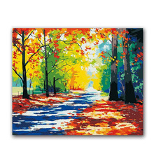 abstract oil painting by numbers scenery landscape colorful  on canvas hanmade for living room wall decoration sunset