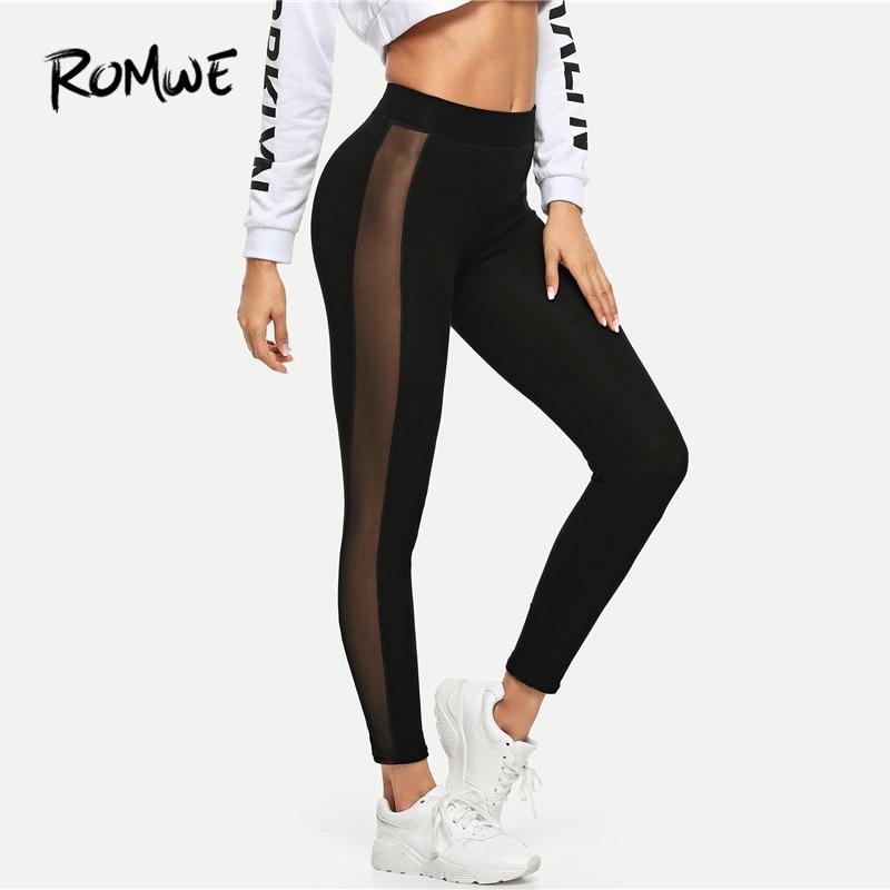 ROMWE Sheer Mesh Panel Side   Leggings   2019 Black Comfortable Solid Active Wear Women   Legging   Basic Stretchy Fitness   Leggings