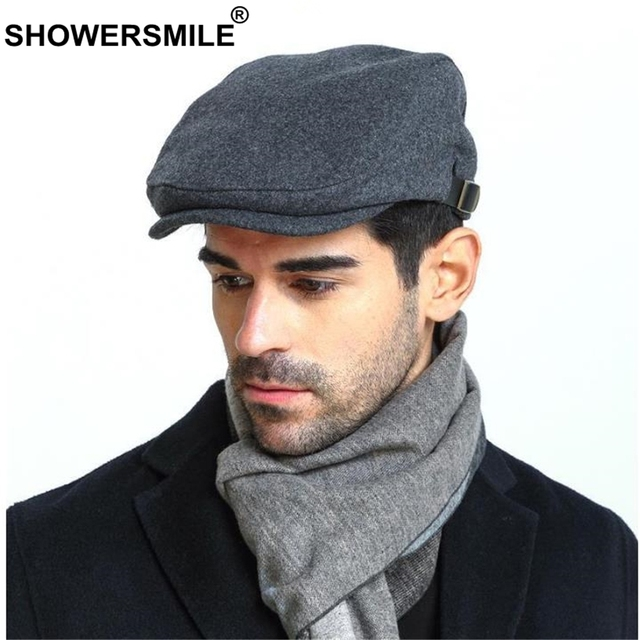 SHOWERSMILE Man Berets Wool British Vintage Flat Caps Gatsby Male Solid  Gray Black Spring Autumn Winter Adjustable Driver Hats 18e5879a773