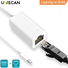 цены на Adapter For Lightning to RJ45 Ethernet LAN Wired Network 100Mbps Network Cable Overseas Travel Compact for iPhone X/8/7/6/iPad в интернет-магазинах