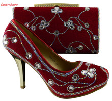 doershow Top selling women s shoes and bags set high class 2015 African shoes and matching