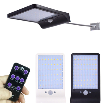 QLTEG 48 LED 450LM ソーラーランプ人体誘導ウォールライト 3 モード調光対応屋外ガーデンの庭ランプリモート制御