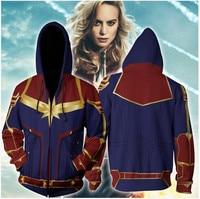 3D печатных Марвел Капитан Carol Danvers MS Marvel костюмы толстовка Свитшот спортивный костюм повседневное молния куртка с капюшоном костюмы