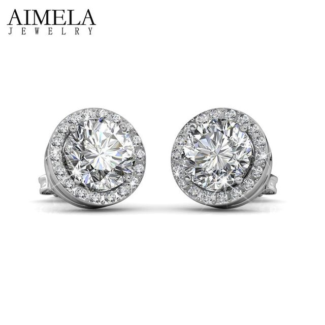 AIMELA White Gold Plated Crystal Earrings Pave AAA Austria CZ Round Stud Earrings For Women SWA Elements Jewelry