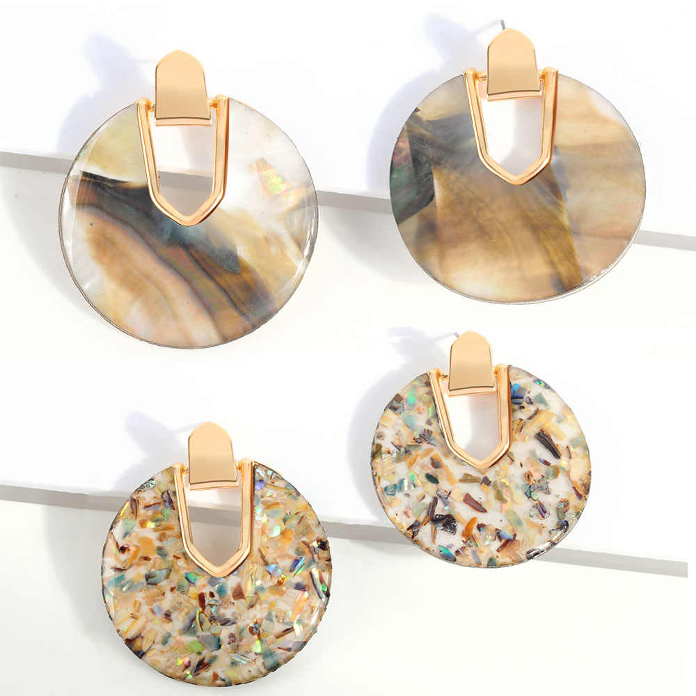 2019 New Style Pearl Abalone Shell Round Drop Dangle Earrings Women Unique Charm Acrylic Geometric Statement Beach Jewelry