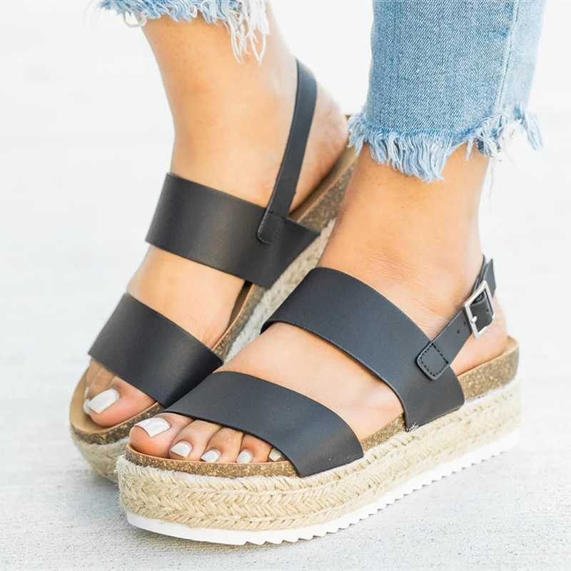 Women Sandals 2019 New Platform Sandals With Wedges Shoes For Women Summer Chaussures Femme Leather Chunky Heels Sandalias MujerWomen Sandals 2019 New Platform Sandals With Wedges Shoes For Women Summer Chaussures Femme Leather Chunky Heels Sandalias Mujer
