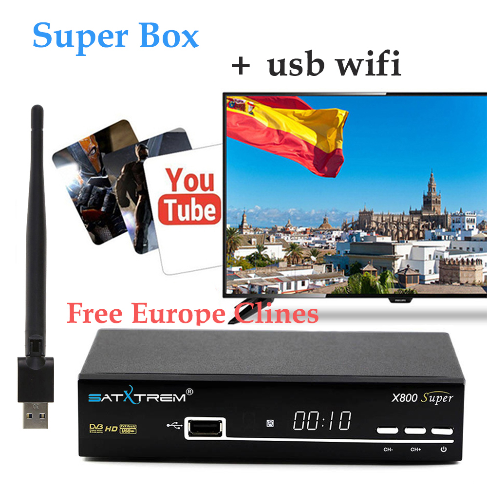 X800 Super box DVB-S2 HD FTA Satellite TV Receiver + Europe Clines for 1 Year Spain cline +USB WIFI support powervu decoder hd cable europe 7 lines 1 year cccam clines for digital tv satellite receiver dvb s2 set top box one year ccam cline spain