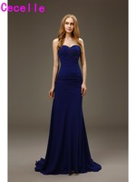 2017Robe De Soiree Long Mermaid Royal Blue Evening Dresses Long Gowns With Train Ruches Chiffon Sweetheart