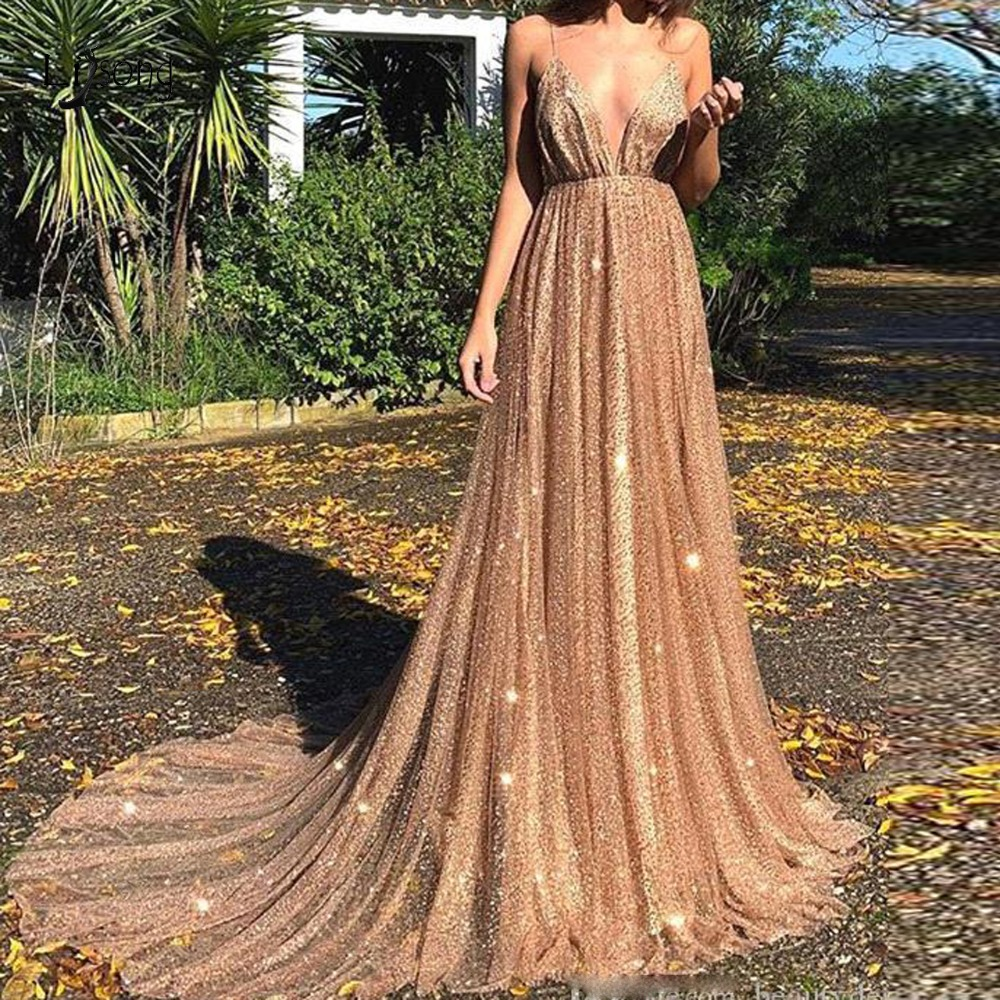 Sexy Sparkle Sequined Lace Prom Dresses 2019 Deep V-neck Backless A-line Prom Gowns Fashion Formal Dresses Vestido Formatura