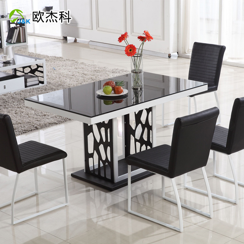 Oujie ke tempered glass dining table dining table modern for Small modern dining table