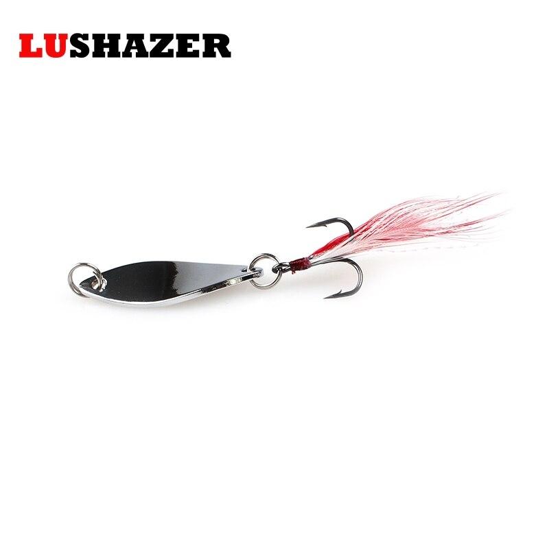 LUSHAZER metal señuelo de la pesca cuchara spinner bait 6g 10g de oro/plata 360