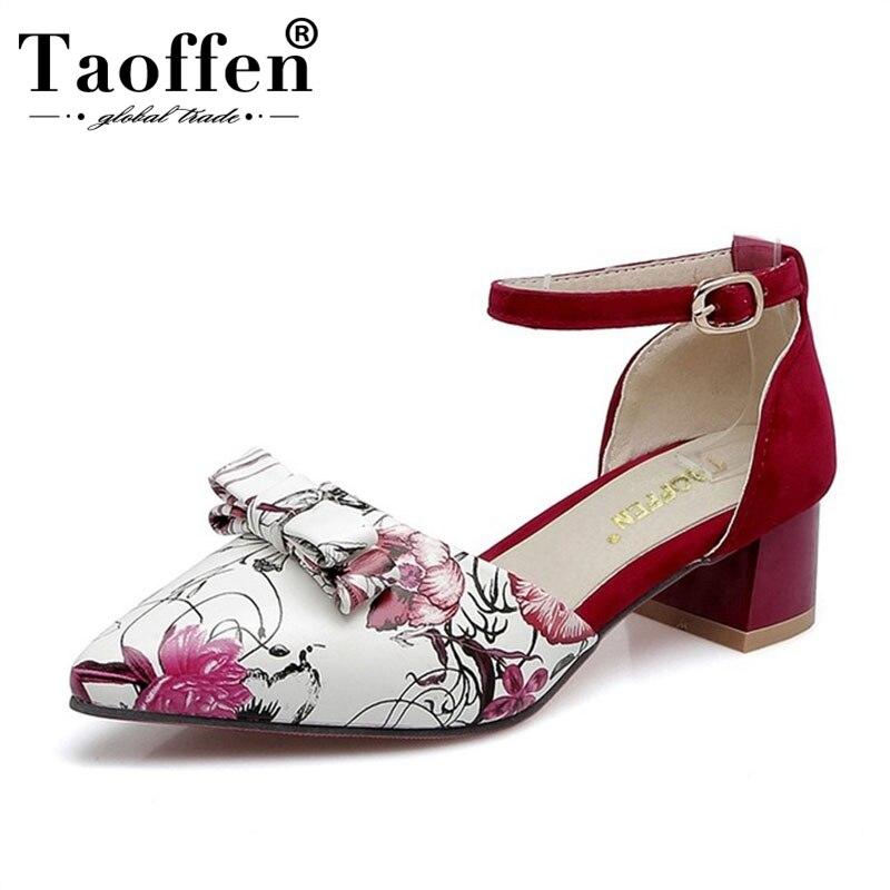 1357bb1f2 TAOFFEN/большие размеры 32-48, женские босоножки на среднем каблуке с  острым носком, женская обувь с пряжкой на щиколотке с цветочным принтом,  жен.