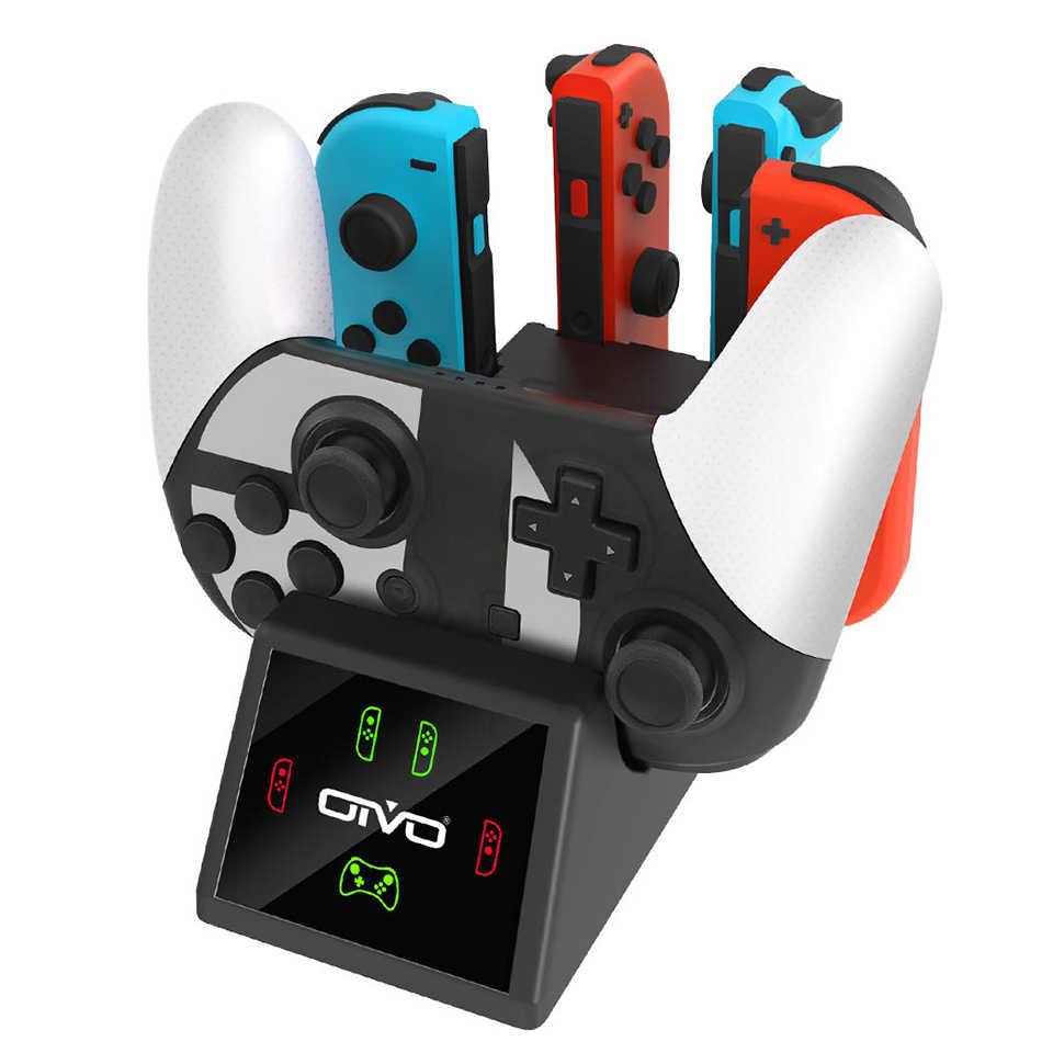 OIVO 5 en 1 base de carga del controlador para Nintendo Switch Pro & 4 Joy con estación de carga del cargador con indicadores LED