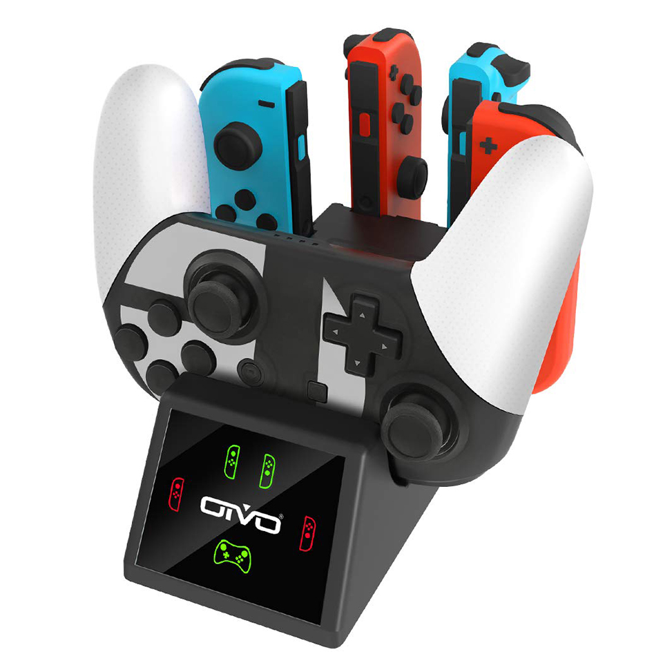 OIVO 5 In 1 Controller Charging Dock Stand For Nintend Switch Pro & 4 Joy Con Charger Charging Station With LED Indicators
