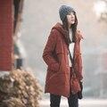 Quente jaqueta de inverno dark orange projeto recorte estéreo meninas long down jacket 90 cashmere