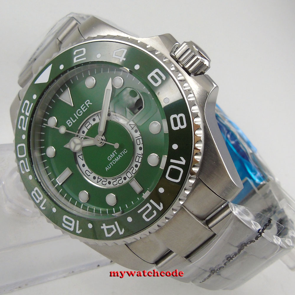 43mm Bliger blue green black dial GMT sapphire crystal date automatic mens watch