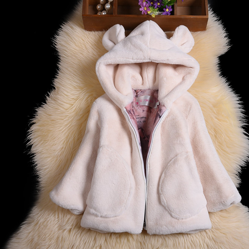 New Luxury Girls Winter Jackets Faxu Fur Children's Outerwear Baby Girl's Warm Hooded Faxu Rabbit Fur Coats For Cold Winter winter kids rex rabbit fur coats children warm girls rabbit fur jackets fashion thick outerwear clothes