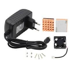 Raspberry Pi комплект В 5 в 3A ЕС адаптер питания + шт. 2 шт. медный радиатор + немой вентилятор охлаждения для Raspberry pi 3 Модель B/2B/Zero W