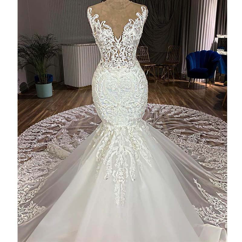 Vestidos De Novia Gorgeous Royal Train Lace Mermaid Wedding Dress 2019 Illusion Button Back Sleeveless Wedding Gowns Gelinlik