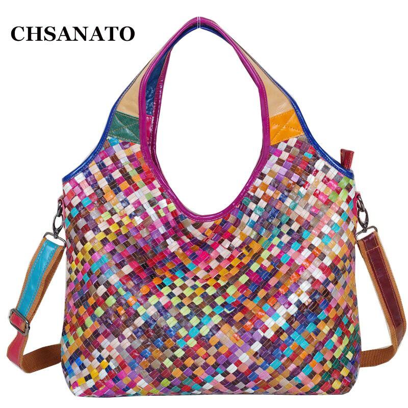 New Cow Leather Bag Women Knitting Bag Real Women Shoulder Bag Designer Brand Handbag Free Shipping