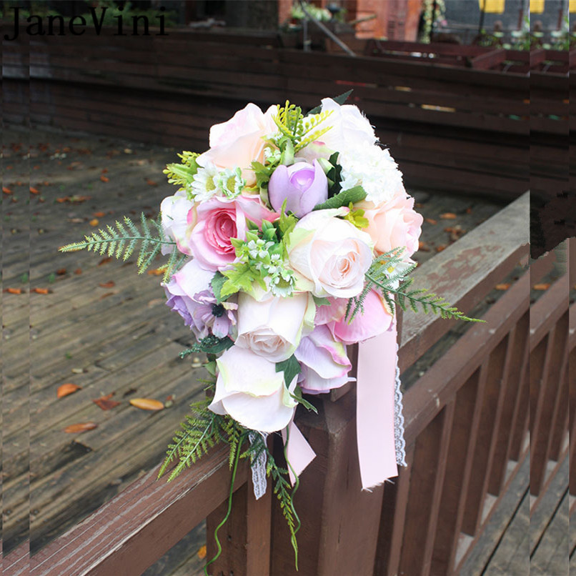 Wedding Flowers Cheap Online: JaneVini Vintage Waterfall Pink Purple Wedding Bouquets