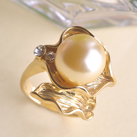 product Meus Pedidos Pearl Jewelry Wedding Rings For Women Perolas Anel Senhor Dos Aneis Joyas Joias Ouro 18K Leaves Ring Summer Style