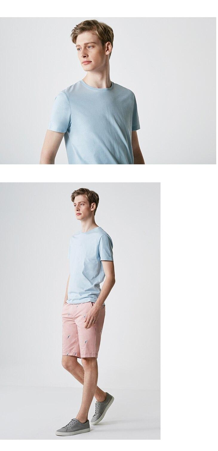 Men's Summer 100% Cotton Pure Color Round Neckline Short-sleeved T-shirt 62