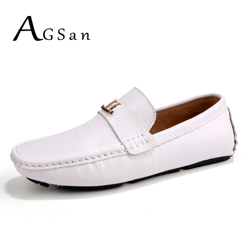 AGSan mens crocodile loafers luxury brand leather driving shoes italian moccasins white black khaki blue handmade boat shoes